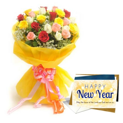 25 Mixed Roses Bunch with Greeting Card on New Year