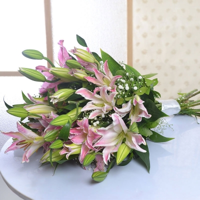 Delicate Pink Lilies Bunch